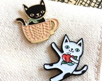 Cat Lover Gift Set - Set of Two Enamel Pins - Party Favor - Stocking Stuffer - B1118