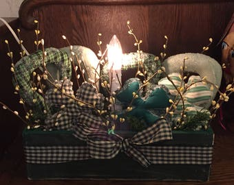 ST.~PATRICK'S~Day~CANDLE~Box~Handmade~One~Of~A~Kind~Unique~Lighted~Electric~Bulb~Original~My~Design~