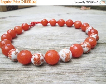 XMAS in JULY SALE Orange White Asian Beaded necklace, Dragon Motif Beads Choker