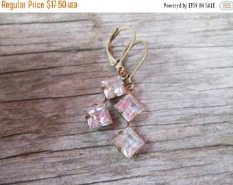 XMAS in JULY SALE Vintage Crystal Pink Mauve Lavender Drop Earrings Brass