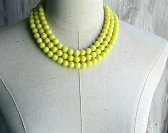 Lemon Yellow Triple Strand Beaded Necklace, Choice of length, Clasp