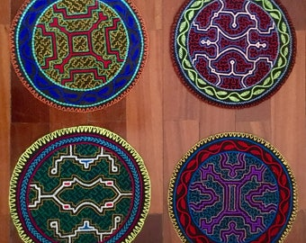 Original Shipibo Kene Patches - Hand Embroidered - Lot of 4