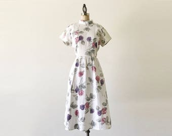 Vintage 1980s White Floral Cotton Rose Short Sleeve Summer Dress - M/L
