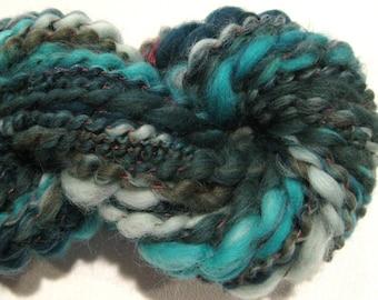 Super Bulky  handspun yarn The Shape of Water 52 yards teal green red yarn merino wool art yarn spiral plied knitting supplies crochet