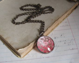 Pink Ombre Tatted Glass Necklace OOAK Lace Jewelry