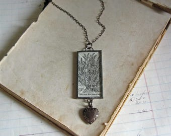 Salvia Sepia Illustration Pendant Antique Paper Jewelry Heart Charm