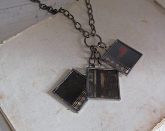 Movie Film Trio Necklace Recycled OOAK Jewelry