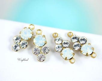 White Opal & Crystal 13x6mm Earring Drops Vintage Connector Set Stone Swarovski Crystals Set Stones Rhinestone Connectors - 4