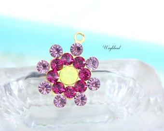 Vintage Style Swarovski Crystal Pendant Charm Set Stones Rhinestone Drops 17mm Light Amethyst Fuchsia & Yellow Opal - 1