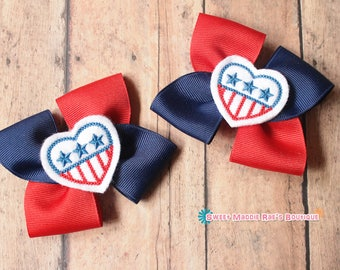 Girls Hair Bows--Red and Blue Heart Bows