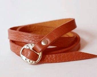 Whisky Tan Leather Cuff Leather Bracelet Wrap Leather Bracelet