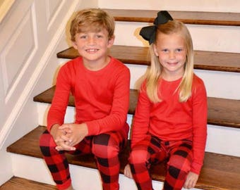 Christmas Pajamas Organic Cotton  Cousins Sibbling  Boy Girl Buffalo plaid photo for Christmas Morning