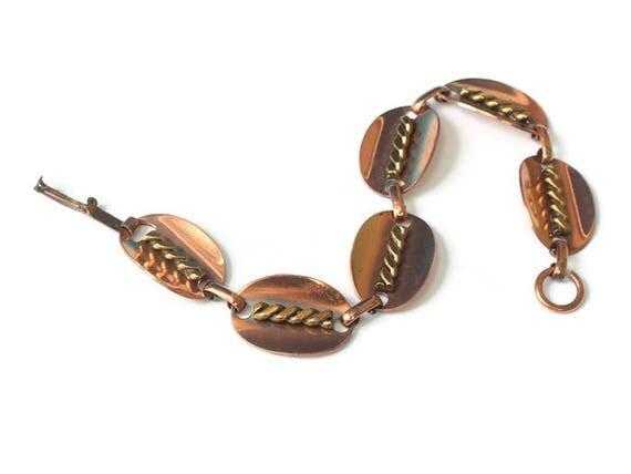 Copper Oval Link Bracelet with Decorated Links Vintage