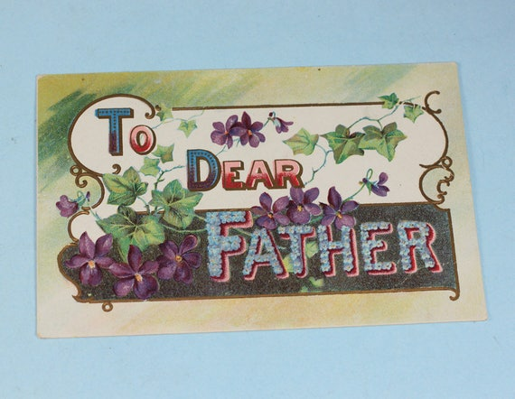 Vintage Postcard Father's Day Birthday To Dear Father