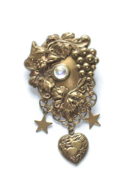 Victorian Revival Stamped Brass Brooch Repousse Fox Grape Leaves Heart and Star Dangles