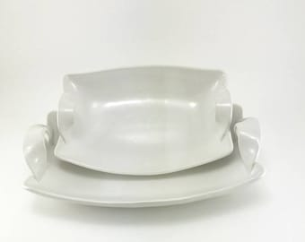 Ceramic Serving Dishes, Set of Two Serving Bowls, Handmade Tableware, White pottery