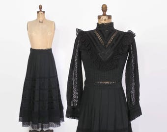 Vintage 70s Victorian Style Set / 1970s Black High Neck Lace Trim Cotton Crop Top Skirt Set