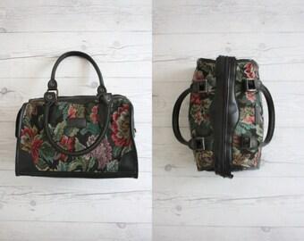 dark floral doctors bag