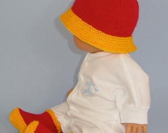 50% OFF SALE Instant Digital PDF File knitting pattern -Anyone For Polo- Baby  Hat and Booties  pdf knitting pattern