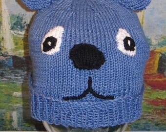 40% OFF SALE Instant Digital File pdf download knitting pattern  - madmonkeyknits blue bear beanie animal hat pdf knitting pattern