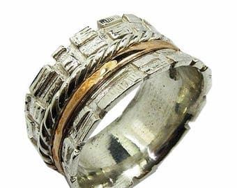 ON SALE Spinner ring for man. Spinner rings. Sterling silver and rose gold ring. Bague tube argent or gold 9 carat.