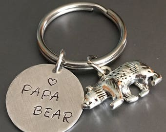 Papa bear Keychain, Dad keychain, Fathers day gift, Keychain, Accessories,Papa charm, Gift for Dad, Bear keychain, Dad gift, Gift for him