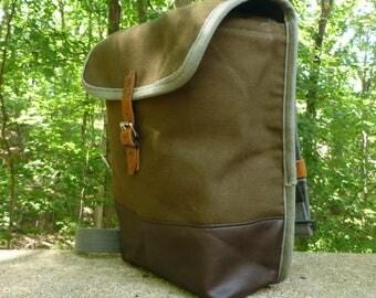 Vintage Canvas Army Satchel / Messenger Bag. Waterproof Interior. IPad bag.