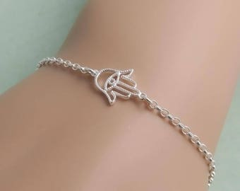 Dainty Hamsa Bracelet, sterling silver, skinny bracelet, teeny hamsa hand