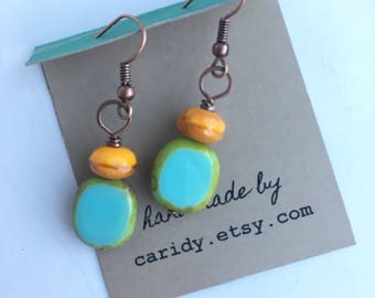 Orange and Mint Czech Glass Beaded earrings on antique copper, Hammered copper beaded earrings, copper and glass earrings, picasso