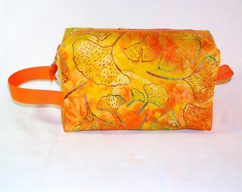 Orange Gingkos Batik Midi Bag