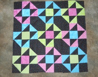 Bright and colorful  - quilt top     **new**   (36 x 36)