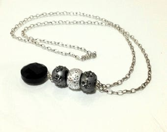 Pandora Style Charm Necklace with round Drop pendant / Long necklace / Charm Necklace / Black and Silver Necklace /