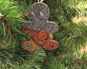 Gingerbread Man Steampunk Christmas Ornament -  Holiday Decor Ready to Ship Polymer Clay style 5