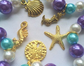 Mermaid, starfish bracelet set, GOLD plated, mixed charm set. SET of 10 ( 2 of each). Kids birthday party, birthday favor.