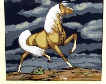 Vintage Frank VIGIL APACHE WARRIOR On Horse Print Silkscreen Serigraph