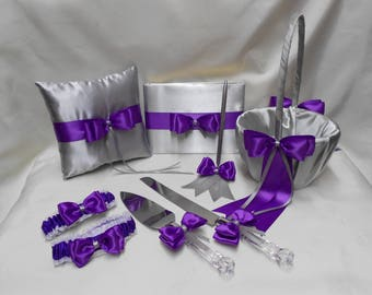 Wedding Silver Purple Regency Flower Girl Basket Halo Ring Pillow Guest Book Pen Cake Server Set Toasting Glasses Garters Your Colors