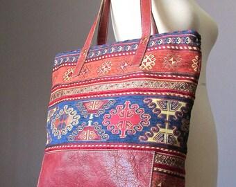 Carpet Tote Bag, Jacquard Leather Shoulder Tote Bag, Tote, Zippered Tote, Gypsy bag, Bohemian Bag, Shopper bag, Handmade by VitalTemptation