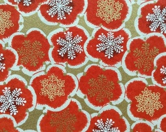 Chiyogami Washi Japanese Paper Sheet 18x24 inches - Red Flowers on Gold