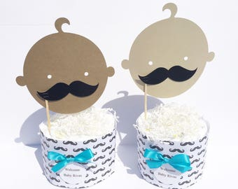 Lil Man Baby Shower Decorations, Mustache Baby Shower Table Ceneterpieces, Mustache Diaper Cakes, Lil Man Baby Shower Centerpieces
