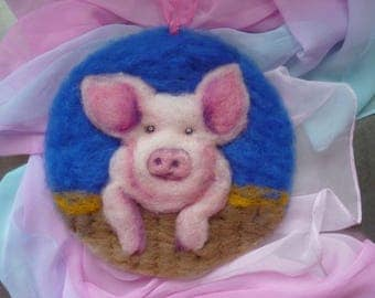 Wool  pink pig art piece -  Waldorf inspired  - Nice birthday gift  - Needle felted in New Zealand wool