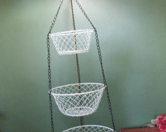 Wire Mesh Baskets 3 Tiered  Hanging White and Black