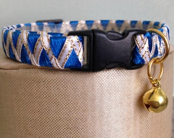 Kitty Collar / Cat Collar with Breakaway Buckle in Blue and White Ribbon Design