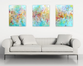 Abstract Triptych Paintings, Original Abstract Art, Long Abstract Wall Art, Acrylic set of three 16x20 canvases, Modern Home Decor turquoise