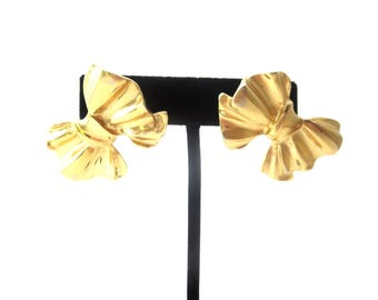Pair of Givenchy Paris New York Signed Vintage Designer Gold Tone Metal Bow Pierced Earrings