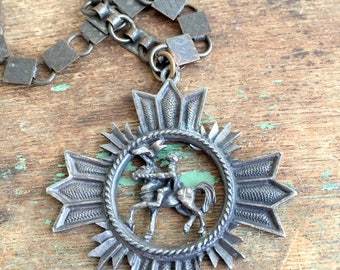 Vintage Book chain Bronze Necklace Pendant Maltese Cross with Knight on Horse