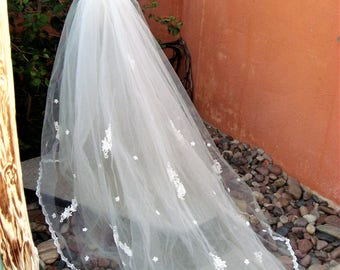 Vintage White Tulle Removeable Wedding Train Lace Appliques Pearl Beads 6.5 Feet
