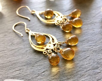 Yellow Citrine Gold Vermeil Filigree Chandelier Earrings. OOAK Gold Citrine Chandelier Earrings