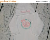 2 DAY SALE PERSONALIZED Coming Home Outfit  Infant Gown and Cap set Monogrammed Dot and Bow
