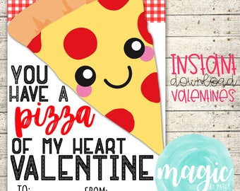 INSTANT DOWNLOAD Pizza my heart  Printable  Valentine for Valentines Day