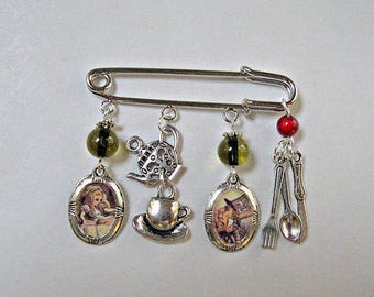 MAD HATTER Pin charms Alice in wonderland Unique collectible collector fantasy tale popular Items